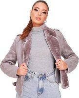 I Saw it First Ladies Suede Biker Jacket (Grey):
