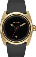 Nixon Men's Kingpin Leather Analog Watch (Gold & Back):
