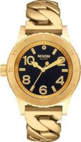 Nixon Ladies 38-20 Analog Watch (Black with Gold Chain):