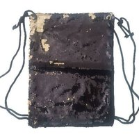 Sequin Drawstring Backpack (Black & Gold):