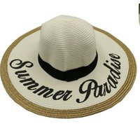 Social Concepts Summer Sun Straw Hat with Writing - Summer Paradise (White):