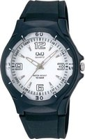 Q&Q Unisex Sport Wrist Watch with White Face and Black Strap: