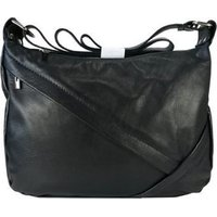 Icon Leather Shoulder or Crossbody Handbag with Concealed Front Zip (Black):