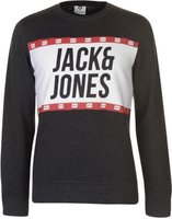 Jack and Jones Mens Core Jcopassion Crew Sweater (Dark Grey and White):