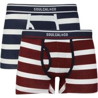 SoulCal Mens Block Stripe Trunks (Navy, White and Burgundy)(Pack of 2):