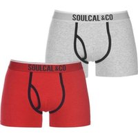 SoulCal Mens Boxers (Grey and Red)(Pack of 2):