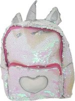 Sequin Heart Midi Backpack (White):