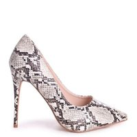 Linzi Ladies ASTON Classic Pointed Court Heel - Taupe Snake: