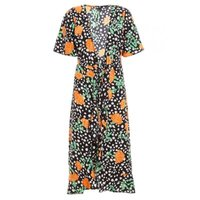 Quiz Ladies Dalmatian Print Floral Midi Dress - Black: