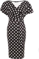 Quiz Ladies Polka Dot Wrap Midi Dress (Black and White):