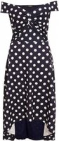 Quiz Ladies Polka Dot Dip Hem Dress (Navy and White):