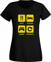 JuiceBubble Eat, Sleep, Game, Repeat 2 Ladies Black T-Shirt: