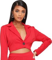 I Saw it First Ladies Cropped Single Breast Blazer (Wine):