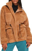 I Saw it First Ladies Drawstring Waist Borg Jacket (Camel):