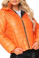 I Saw it First Ladies Fur Hood Padded Coat (Orange):