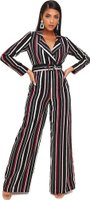 I Saw it First Ladies Stripe Print Belted Jumpsuit (Burgundy):
