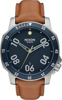 Nixon Men's Ranger Leather Analog Watch (Navy & Brown):