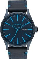 Nixon Men's Sentry Leather Analog Watch (All Dark Blue):