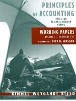 Principles of Accounting, v. 1 - Working Papers (Chapters 1-14) (Paperback): Paul D. Kimmel, Jerry J. Weygandt, Donald E. Kieso
