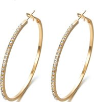 ZA Fashionable Hoop Rhinestone Circular Earrings: