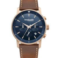 Lambretta Men's Wrist Watch with Leather Strap (Rose Gold Face & Brown Strap):