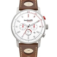 Lambretta Men's Watch - Racing White Dial & Brown Leather Strap (Gold White Face & Brown Strap):