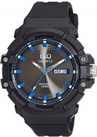 Q&Q Mens Multifunction Wrist Watch with Blue Face and Black Strap with Blue Accents: