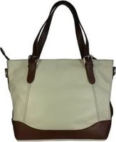 Icon Leather Tote Handbag - Large Enough for Notebooks (Cream):