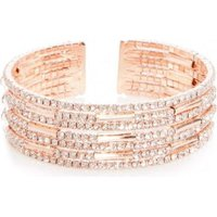 Quiz Women Diamante Cuff Bracelet (Rose Gold):