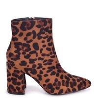 Linzi Ladies ALICE Block Heeled Boot With Pointed Toe - Brown Leopard: