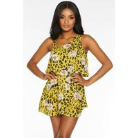 Quiz Ladies Leopard Print Playsuit - Yellow: