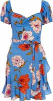 Quiz Ladies Floral Print Puff Sleeve Dress (Blue and Red):