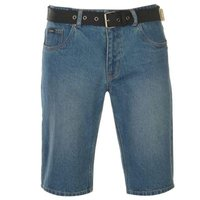Pierre Cardin Mens Web Belt Shorts - Mid Wash  [Parallel Import]: