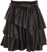 Quiz Ladies Faux Leather Frill Skirt (Black):