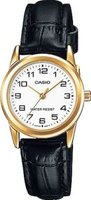 Casio Classic Analog Leather Wrist Watch (Black, Gold & White):