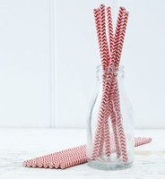 Pop Art - Chevron Paper Straws (Red)  (Pack of 25):