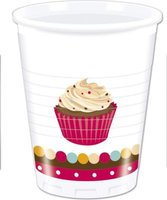 Cupcake Dots - 8 Plastic Cups (200ml):