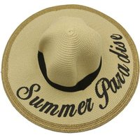 Social Concepts Summer Sun Straw Hat with Writing - Summer Paradise (Beige):
