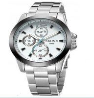 Skone Men's Knightsbridge Steel Strap Chronograph Watch - white: