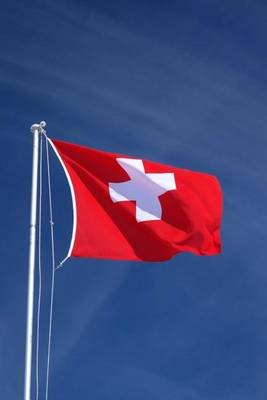 The Swiss Flag Blowing in the Wind, for the Love of Switzerland - Blank 150 Page Lined Journal for Your Thoughts, Ideas, and...