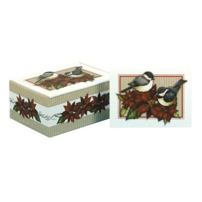 Winter Chickadees Boxed Tip-On Christmas Cards (Hardcover):
