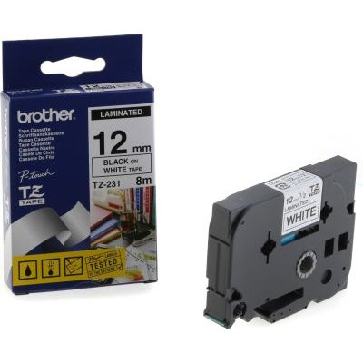 Brother TZ-231 P-Touch Laminated Tape (Black on White )(12mmx8m):