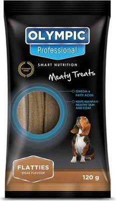 Olympic Professional Flatties  Meaty Treats with Steak Flavour for Dogs (120g):
