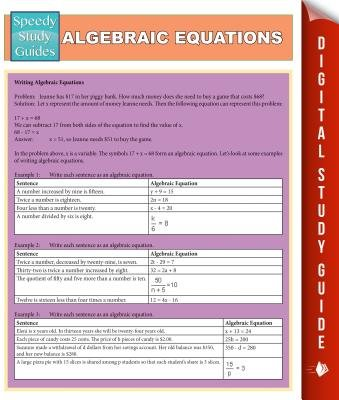 Algebraic Equations (Speedy Study Guides) (Electronic book text): Speedy Publishing