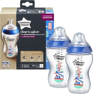 Tommee Tippee - Closer to Nature Decorated Bottle 340ml (2PK) - (Supplied Colour May Vary):