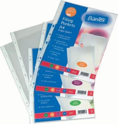 Bantex B2041 A4 Copy-Safe Multi-Punched Filing Pocket (80 Micron)(10 Pack):