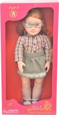 Our Generation Doll April With Glasses And Check Skirt 45cm: