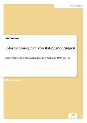 Informationsgehalt Von Ratinganderungen (German, Paperback): Stefan Heil