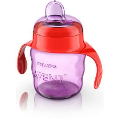Philips AVENT Easy Sip Spout Cup with Handle 200 ml (Red and Purple):