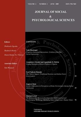 Journal of Social & Psychological Sciences (Paperback): Syed Nadeem Hussain, Neha Khetrapal, Jagpreet Kaur